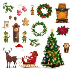 Christmas winter holidays icons with Santa gifts