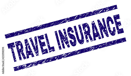 TRAVEL INSURANCE seal print with grunge style  Blue vector
