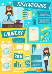 Laundry and dish washing home service, vector