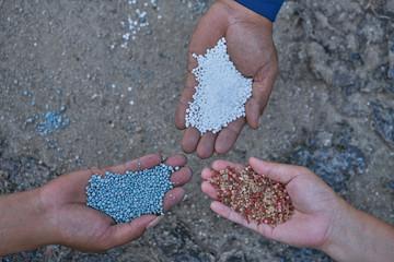 Compound fertilizer , Bulk Blend Fertilizer and urea in farmer hands.