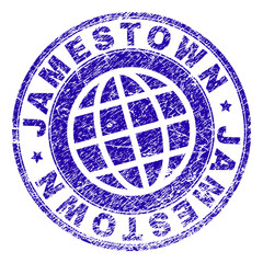 JAMESTOWN Stamp Imprint With Distress Texture Blue Vector Rubber Seal Of Label