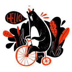 Cute bear riding a bike, Collection of hand drawn. Vector illustration in sketch doodle style.