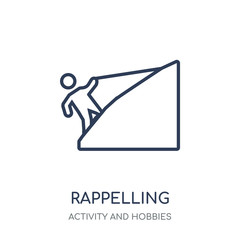 Rappelling icon. Rappelling linear symbol design from Activity and Hobbies collection.