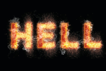 Hell letters on fire word text flames smoke burning
