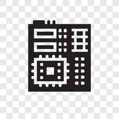 Motherboard vector icon isolated on transparent background, Motherboard transparency logo design