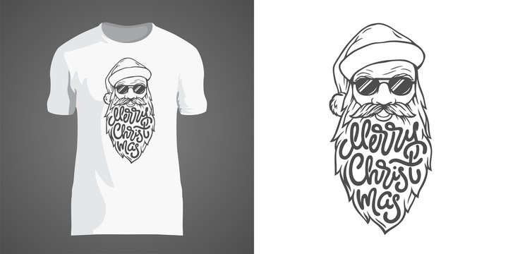 Creative t-shirt design with illustration of Santa in sunglasses with big beard. Lettering Merry Christmas in form of beard. T-shirt design for New Year party and Christmas holidays.