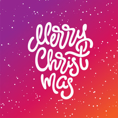 Merry Christmas lettering on bright background with snowflakes. Hand-drawn inscription for greeting card, invitation, poster, banner. Vector handwritten calligraphy.