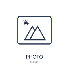 Photo icon. Photo linear symbol design from Travel collection.