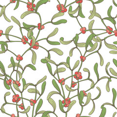 Mistletoe graphic color sketch seamless pattern background illustration vector