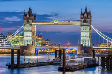 The famous illuminated Tower Bridge in London at night
