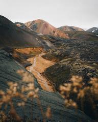 Rhyolite mountains in Icelandic volcanic landscape