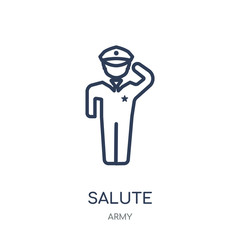 Salute icon. Salute linear symbol design from Army collection. Simple element vector illustration. Can be used in web and mobile.