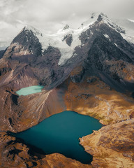 Twin alpine lake in Peru mountains