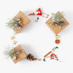 Christmas background Wreath made Christmas decoration white background top view New year flat lay