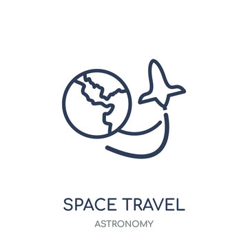 Space travel icon. Space travel linear symbol design from Astronomy collection. Simple element vector illustration. Can be used in web and mobile.