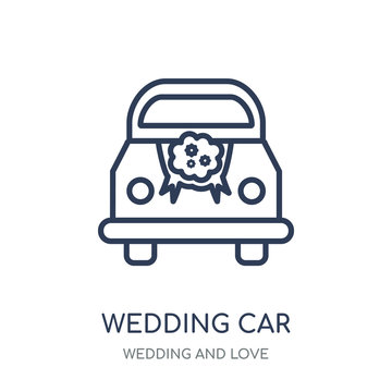 Wedding car icon. Wedding car linear symbol design from Wedding and love collection.