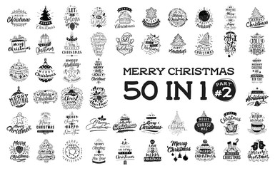 Merry Christmas typography set.