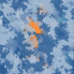 Seamless denim digital pixel blue camouflage textile pattern