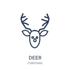 Deer icon. Deer linear symbol design from Christmas collection.