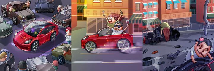Car Accidient. Realistic Caricature Cartoon Style, Video Game's Digital CG Artwork, Concept Illustration Design