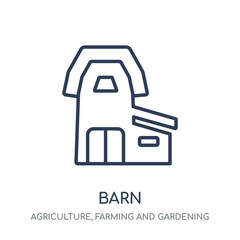 Barn icon. Barn linear symbol design from Agriculture, Farming and Gardening collection.