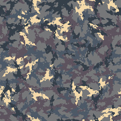 UFO military camouflage seamless pattern in different shades of beige, purple and different shades of blue colors