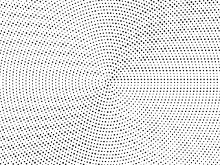 Radial random dots background. Black white comic dots texture. Pop Art circle pattern. Abstract geometric vector pattern. Vector template for presentation banner flyer report, business cards, stickers