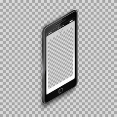 Black smartphone with empty screen on transparent background. Template for any application design and backdrop, phone template.  Isometric projection. Vector.