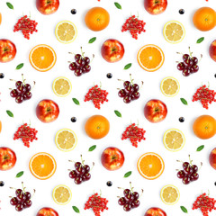 Fruits seamless pattern. Food background