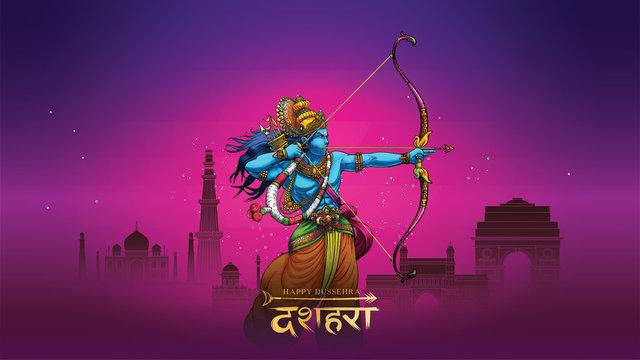 vector illustration of Lord Rama killing Ravana in Happy Dussehra Navratri poster festival of India. translation : dussehra