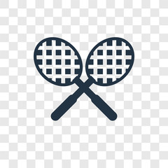 Tennis racket vector icon isolated on transparent background, Tennis racket transparency logo design