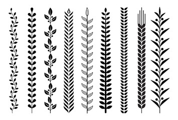 Leaf nature pattern vector illustrations.