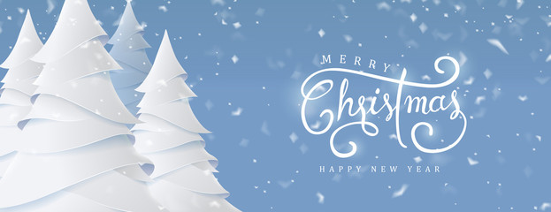 Wall Mural - Merry Christmas and Happy New Year background for Greeting cards with christmas tree landscape and snowing paper art style.Calligraphy of christmas.Vector illustration.