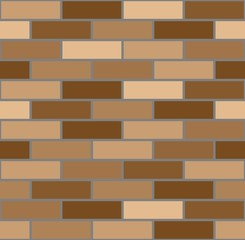 Seamless pattern with brown bricks. Vector image.