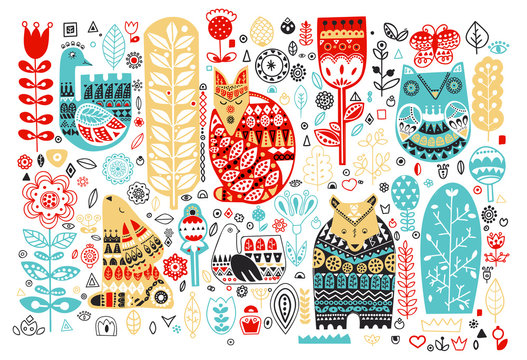 Nordic animals and birds and floral folk elements in Scandinavian style