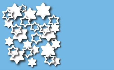Blue background with David stars. Modern paper cut design. Vector illustration with place for your text