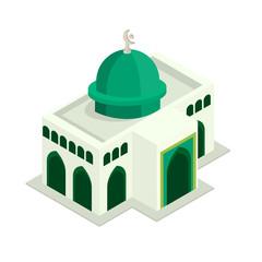 Minimalist Green Dome Mosque Islamic Worship Building Isometric Vector Illustration