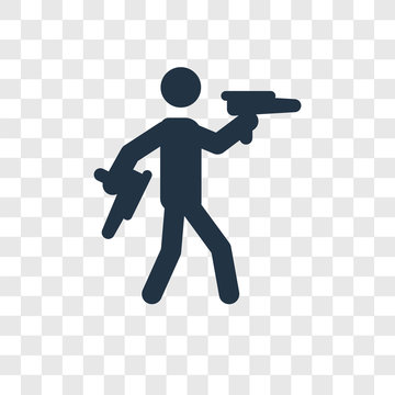 Target Shooter vector icon isolated on transparent background, Target Shooter transparency logo design