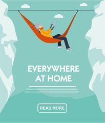 Happy climber relaxing lies in hammock with tablet in the hands of on top of mountain .Everywhere at home. Flat cartoon illustration vector set. Active sport concept set.
