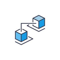 Vector block chain icon - crypto concept sign or design element