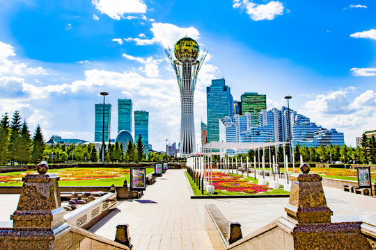 Kazakhstan . Astana . Nurzhol Boulevard . Beautiful view of the Bayterek monument .