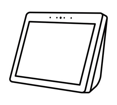 Smart speaker personal assistant with screen line art vector icon for apps and websites
