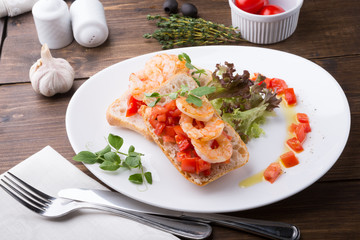 Bruschetta sandwich served on a plate
