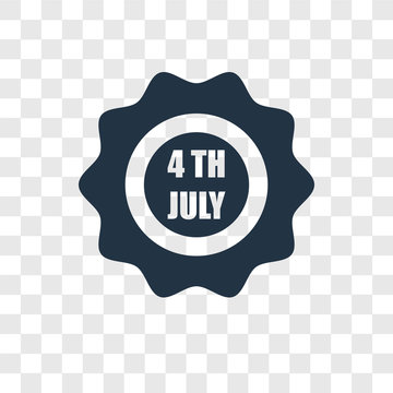 4th of july vector icon isolated on transparent background, 4th of july transparency logo design