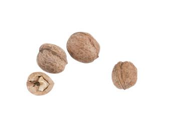 Walnuts on a white