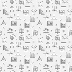 STEM education vector minimal outline seamless pattern or background