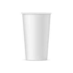 Tall disposable paper cup mock up - front view. Vector illustration