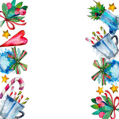 Christmas winter holiday symbol in a watercolor style. 2019 year, happy holidays. Background illustration set.