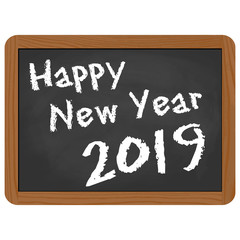 school slate with New Year 2019 greetings