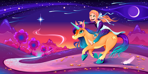 Happy girl is riding the unicorn following her star